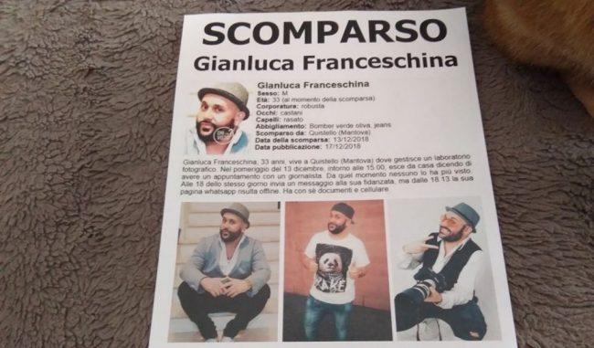 Gianluca Franceschina scomparso, la compagna: &#8220&#x3B;Aiutatemi, sto impazzendo&#8221&#x3B;