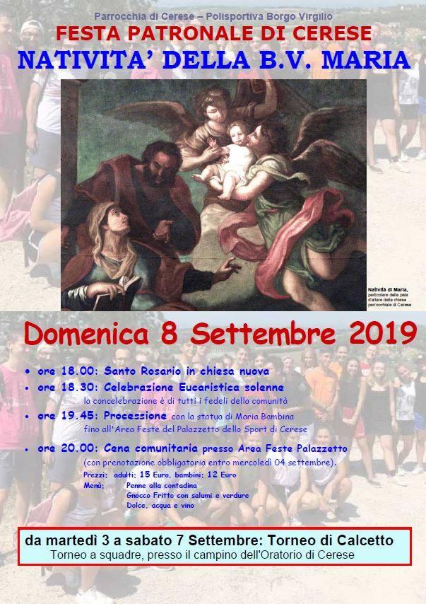 Domenica 8 settembre Festa patronale di Borgo Virgilio