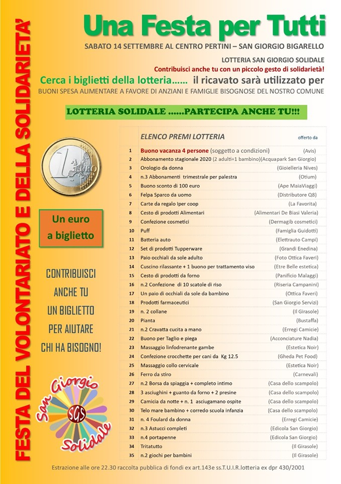 A San Giorgio Bigarello torna la Festa del Volontariato