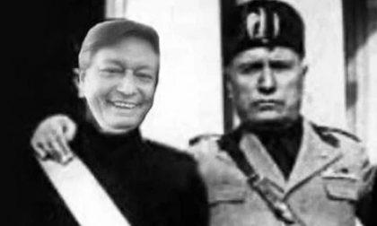 Elezioni Mantova 2020: Fabrizio Bonatti candidato di Forza Italia in un fotomontaggio con Mussolini