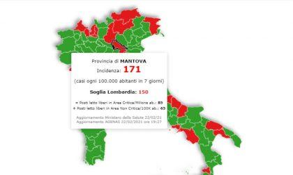 In Lombardia la situazione peggiora, i numeri di Mantova sono da zona rossa