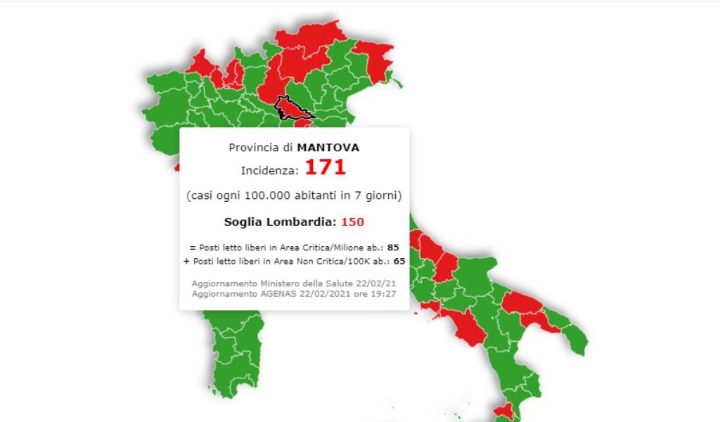 In Lombardia la situazione peggiora ma Mantova resta sotto la soglia critica