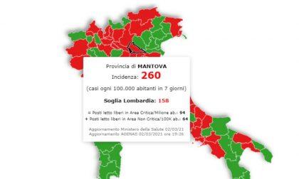 Scuole chiuse nei territori con 250 casi ogni 100mila abitanti. Mantova centrata in pieno