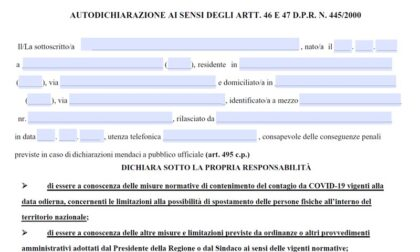 L'autocertificazione per uscire dalle regioni arancioni e rosse dal 26 aprile